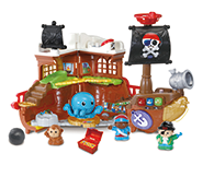 This mighty interactive Pirate Ship play set opens up to reveal a fantastic Treasure Island! Will you find the treasure?!