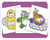 Bath Toy Characters Colouring-in Sheets