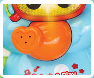 This cute and happy elephant just loves to play and spray water from his trunk making bath time fun for your little one!