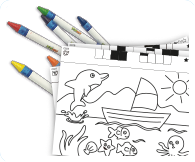 Includes 6 crayons, 1 stencil with storage and 50 barcode activity pages to colour.