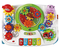 Introduces, Colours, Animals, and Instruments. 5 Piano keys introduce musical notes and colours.