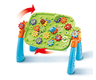 Build and store gears to the side of the legs and under the table. 2 sides of building fun!