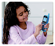 Child-safe two-way walkie talkies feature a digital connection that keeps your child's conversations secure.