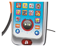 10 colourful activity buttons, light-up music button, one-touch play and pause controls, headphone jack and headphones.