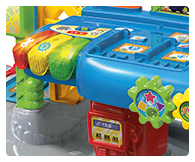 Features spinning gears and open and close gates. Garage includes three chunky light up buttons that introduce colours, objects, fun phrases and tunes.