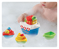 Float the tug around in the bath or push it around on its wheels when playing on dry land!