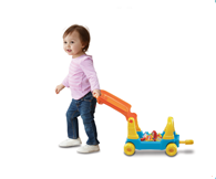 4-in-1 grow with me alphabet train includes modes for sit-down play, walker, pull-along wagon and ride on.