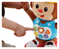 5 shape buttons introduce letters, numbers, body parts, music and more to your child.